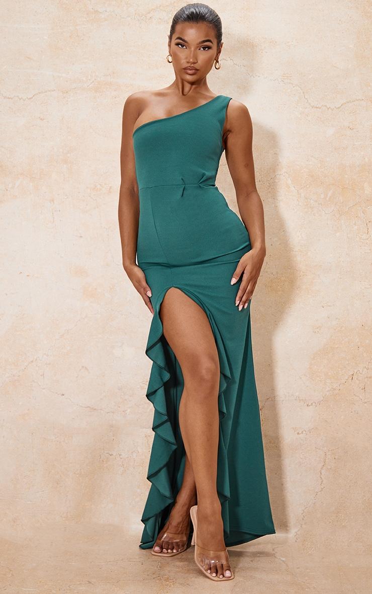 Emerald Green One Shoulder Ruffle Hem Maxi Dress 1