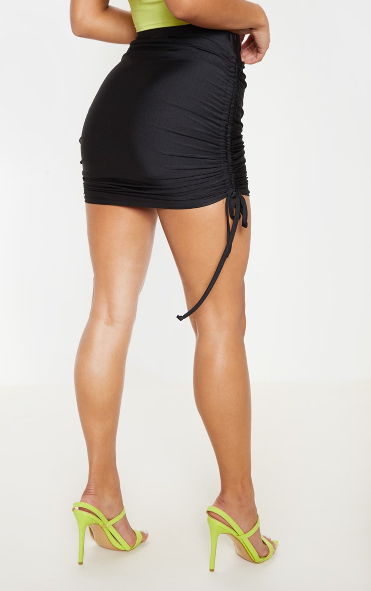 Black Ruched Side Mini Skirt 3