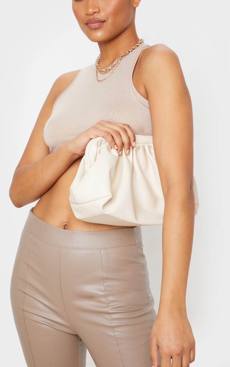 Beige PU Ruched Oversized Clutch Bag image 1