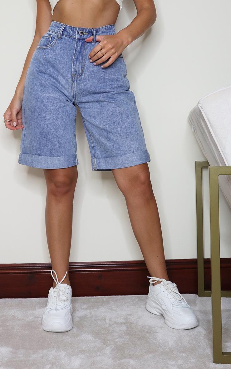Vintage Wash Denim Longline Turn Up Boyfriend Shorts 2
