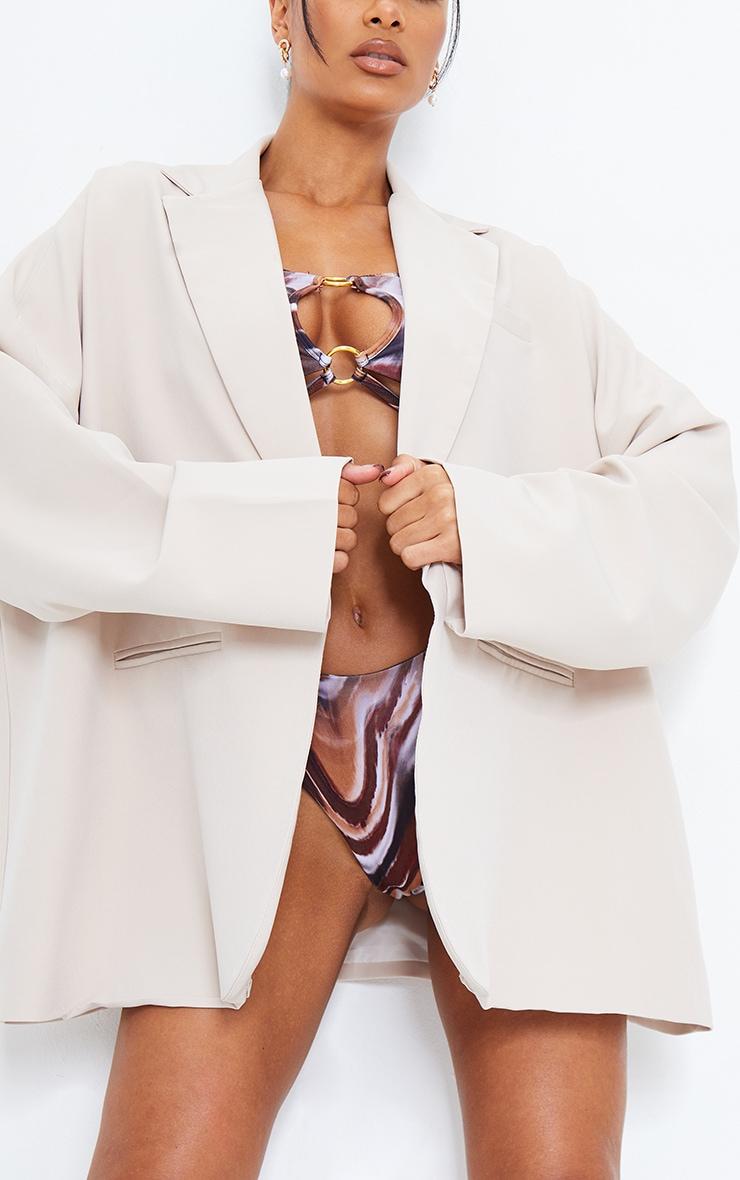 Cream Woven Drop Shoulder Oversized Dad Blazer 4