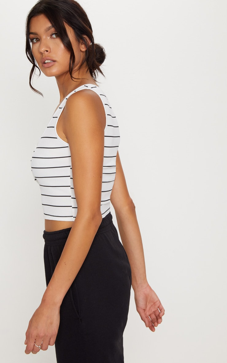 White Ribbed Popper Cropped Vest 2