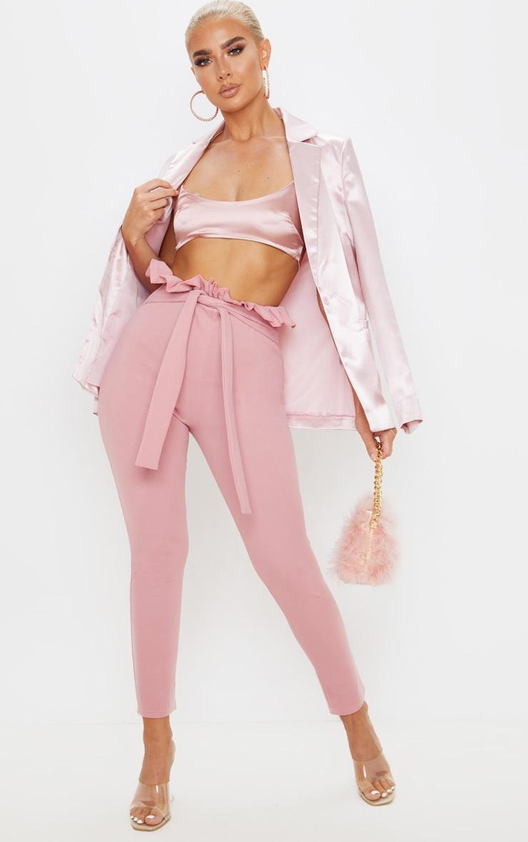 Dusty Pink Paperbag Skinny Pants  1