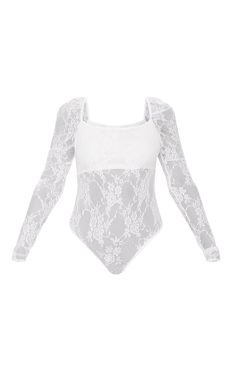 Cream Lace Puff Sleeve Square Neck Bodysuit 5