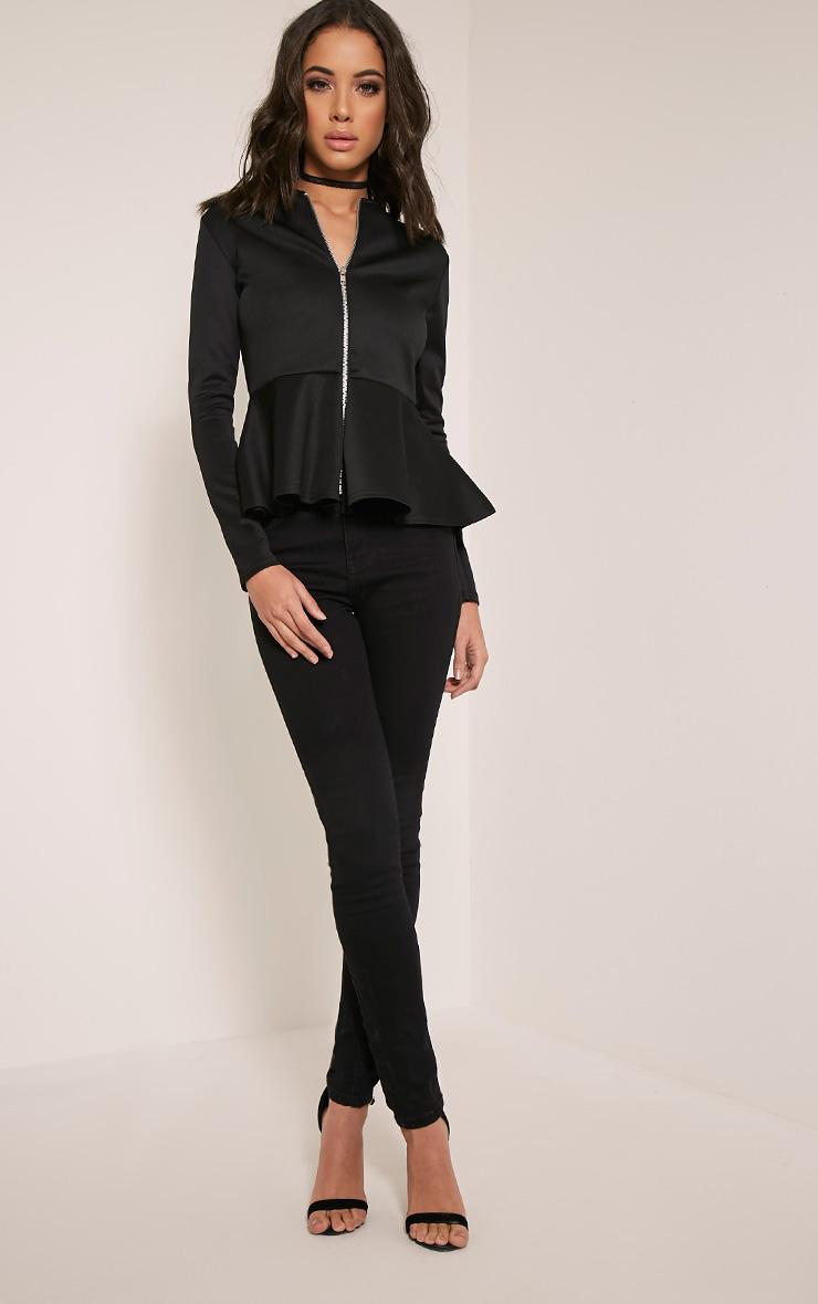Genevie Black Scuba Peplum Jacket 5