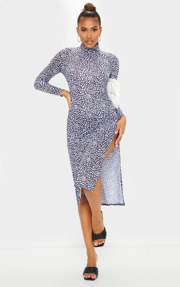 Black Dalmatian Print Long Sleeve High Neck Side Slit Midi Dress 1