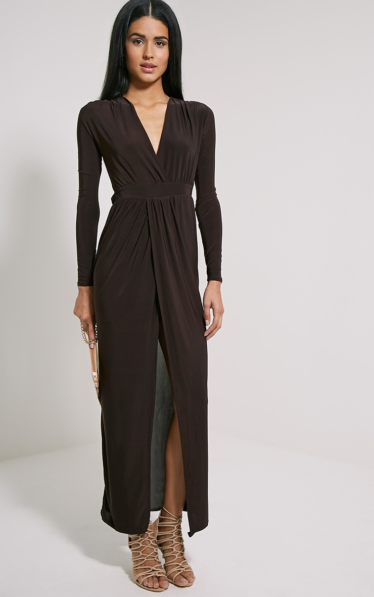 Bex Chocolate Brown Cut Out Maxi Dress 1