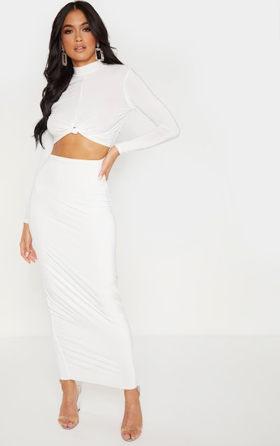 White Slinky Long Sleeve Knot Detail Cut Out Midaxi Dress