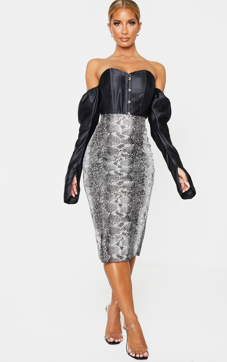 Grey Faux Leather Snake Print Midi Skirt 1