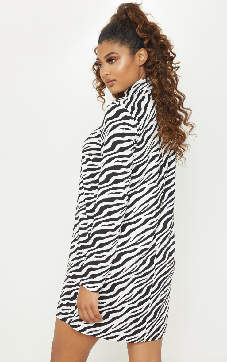 Tall White Zebra  High Neck Shift Dress 2