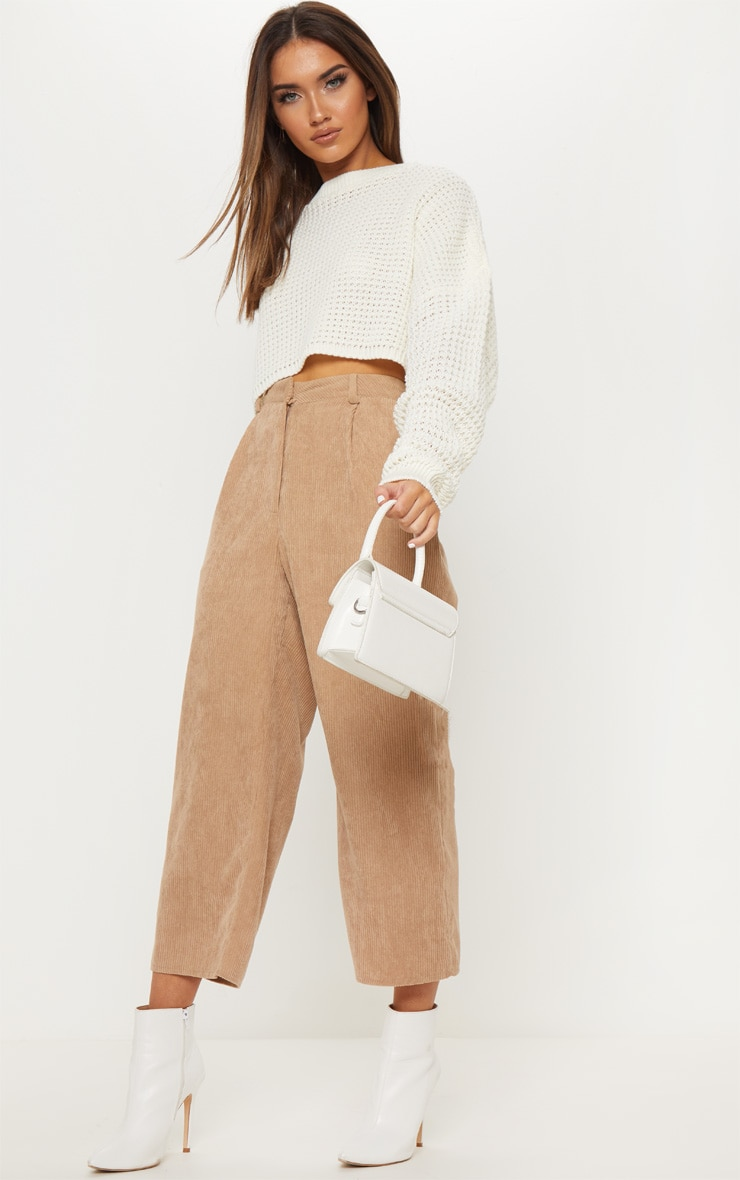 Cream  Fisherman Knitted Cropped Jumper 4