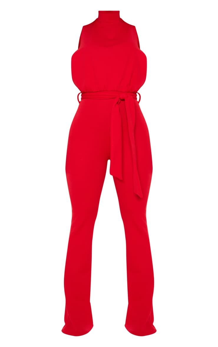 Red Scuba High Neck Tie Waist Jumpsuit 3