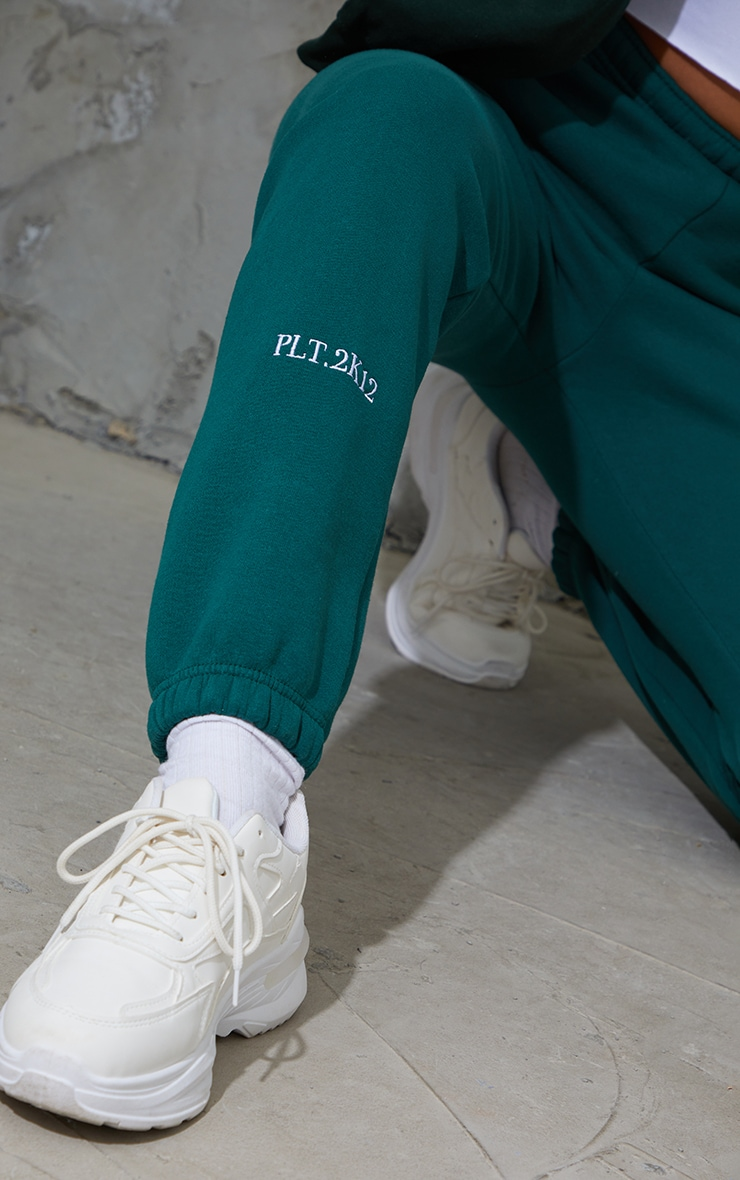 PRETTYLITTLETHING Dark Green Cuff Detail Casual Joggers 4