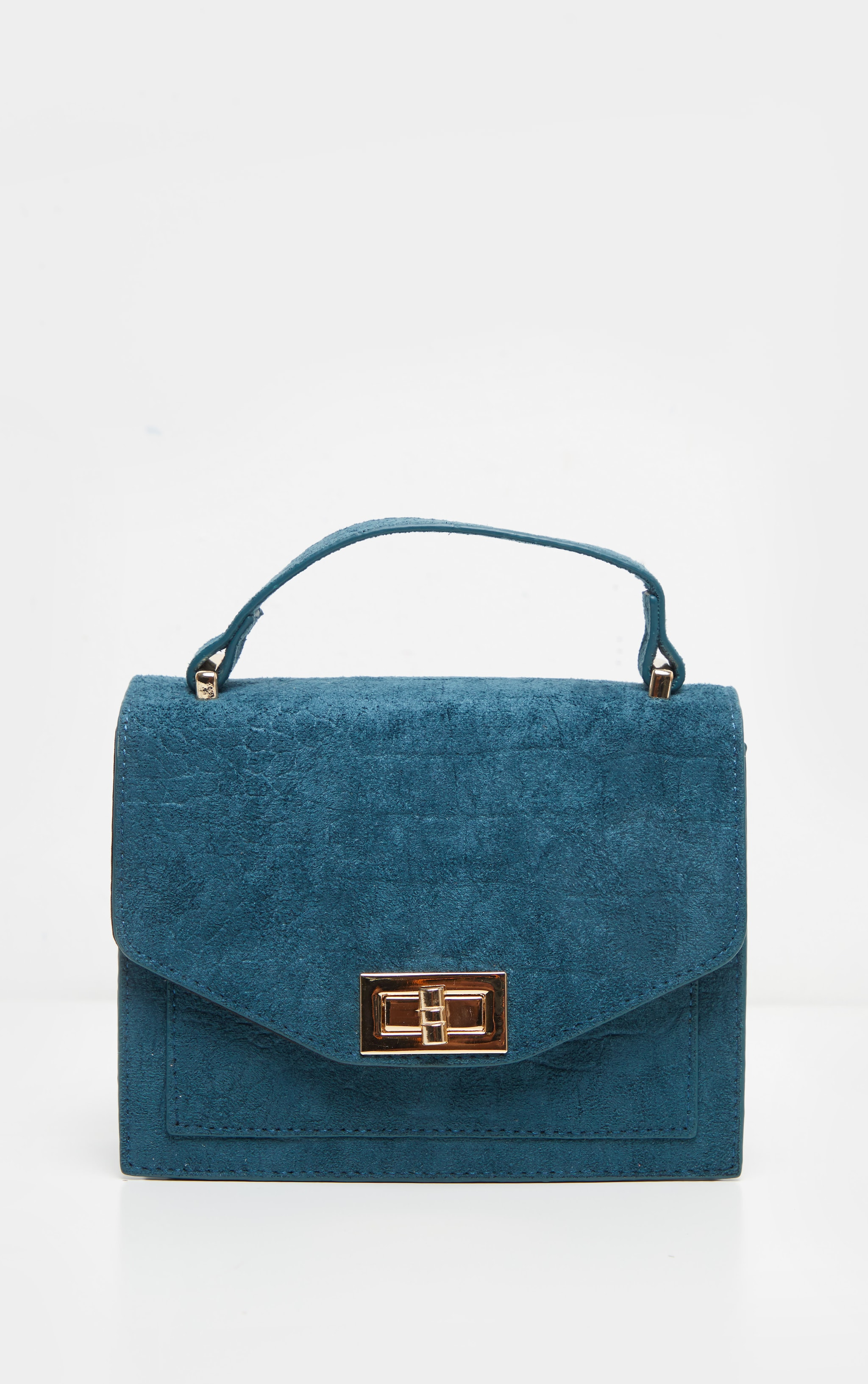Petrol Blue Croc Embossed Velvet Box Cross Body Bag 2