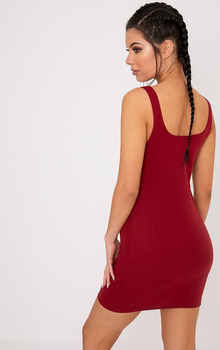 Carolin Burgundy Scoop Neck Bodycon Dress 2