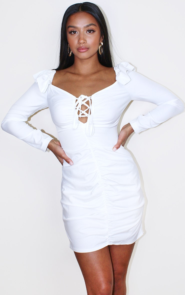 Petite Cream Ruched Shoulder Bodycon Dress 1