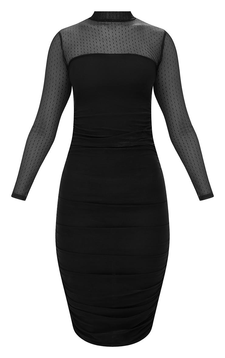 Black Dobby Mesh Bodycon Dress 4