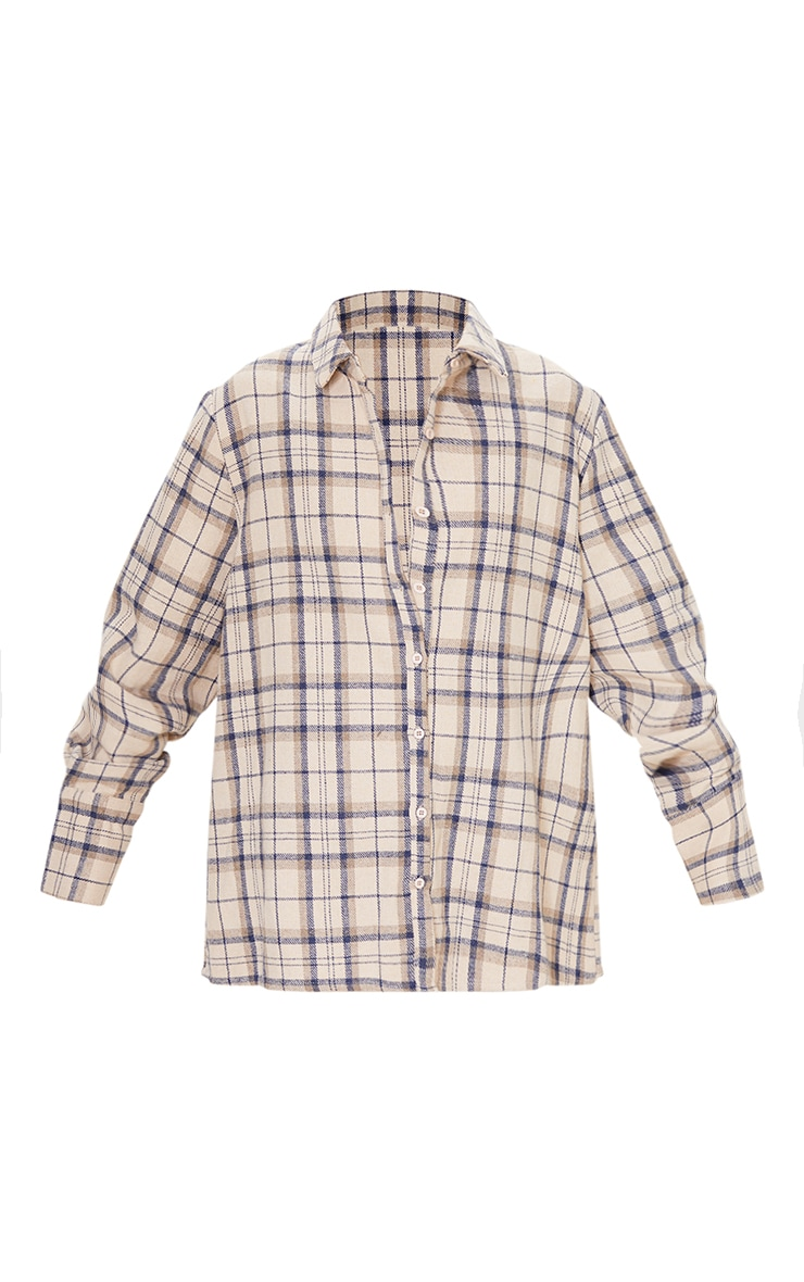 Beige Oversized Checked Shirt 5