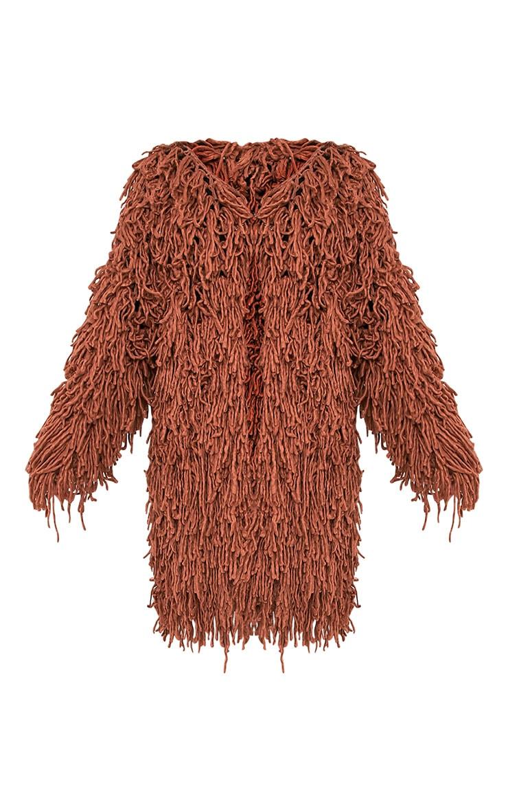 Aslina Cinnamon Shaggy Knit 3/4 Length Cardigan 3