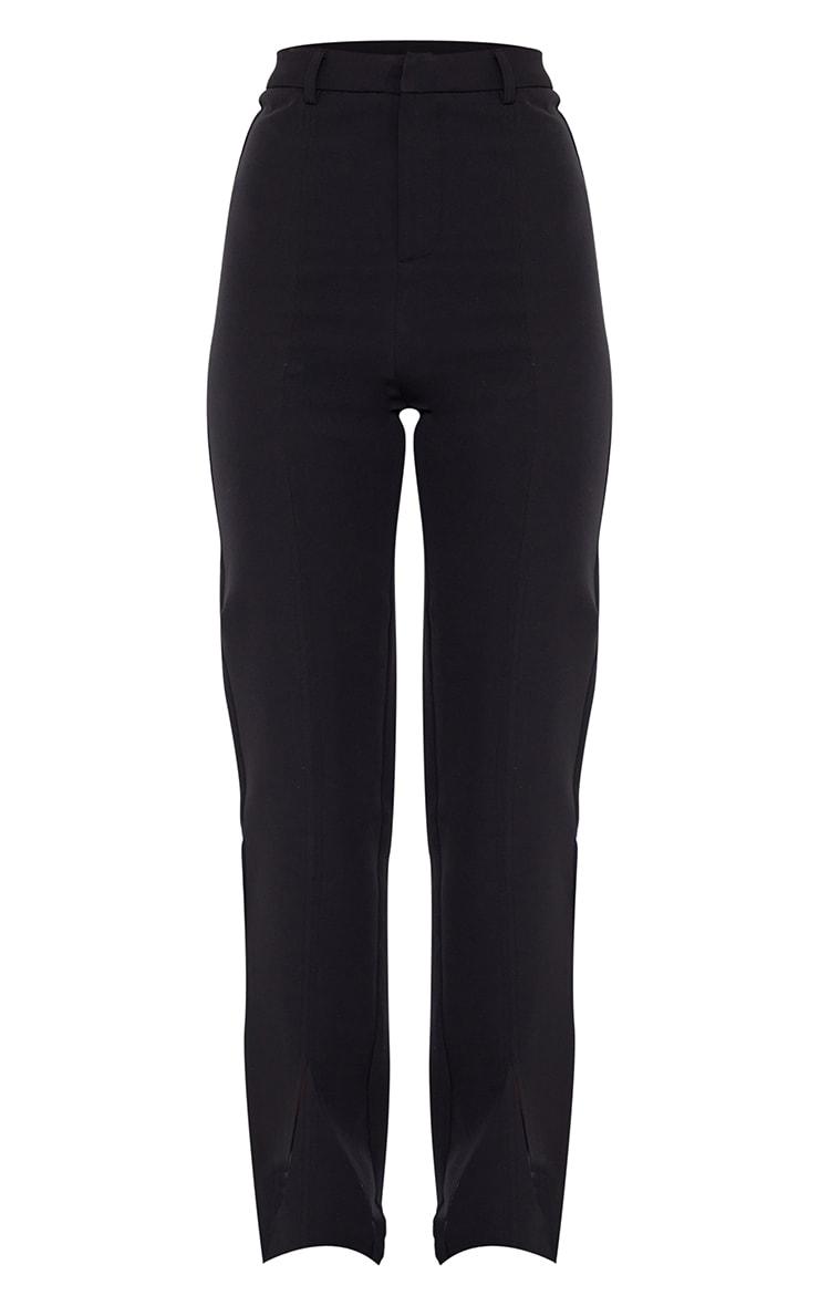 Black Woven Straight Leg Split Hem Trousers 5