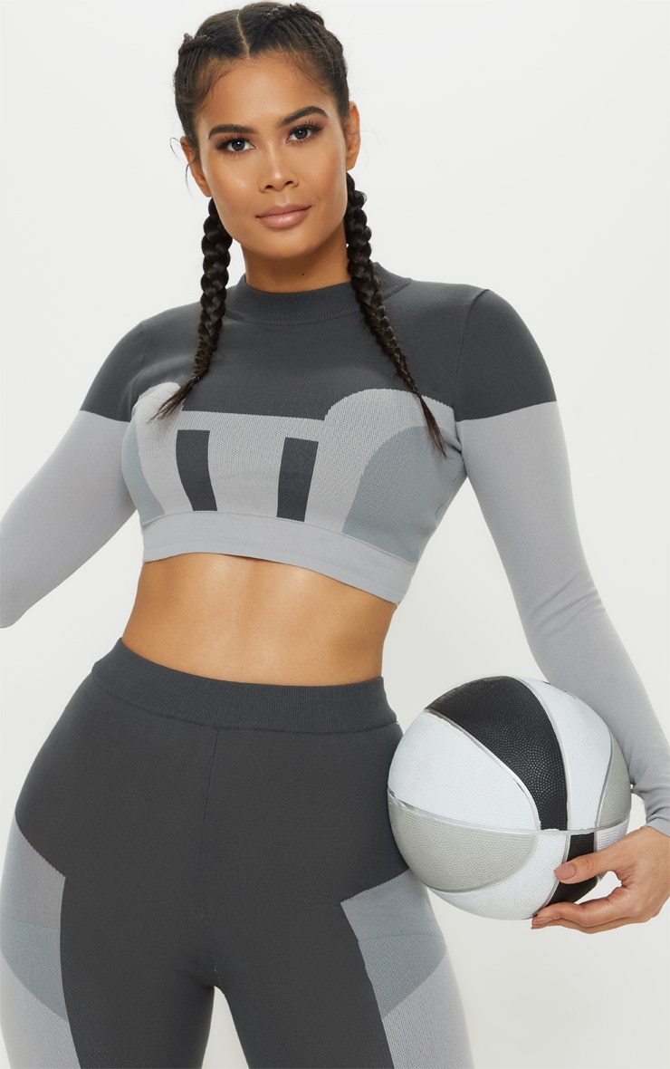 Grey Seamless Knit Panelled Longsleeve Gym Top 6