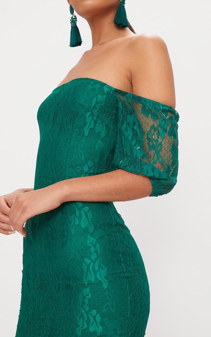 Emerald Green Lace Bardot Puff Sleeve Bodycon Dress 5