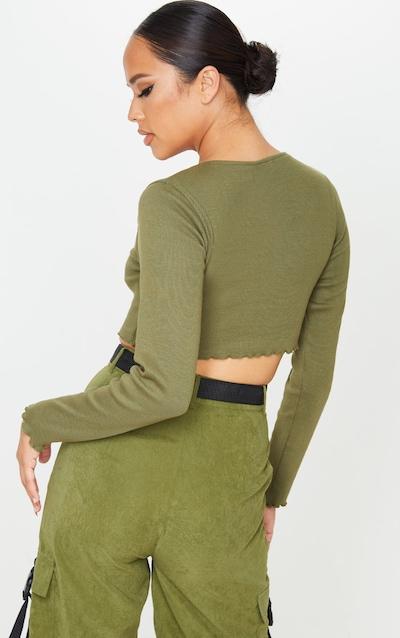 Khaki Frill Edge Crop Knitted Top