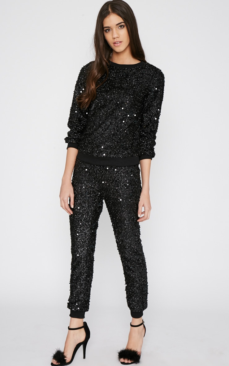 Tama Black Sequin Jogger 1
