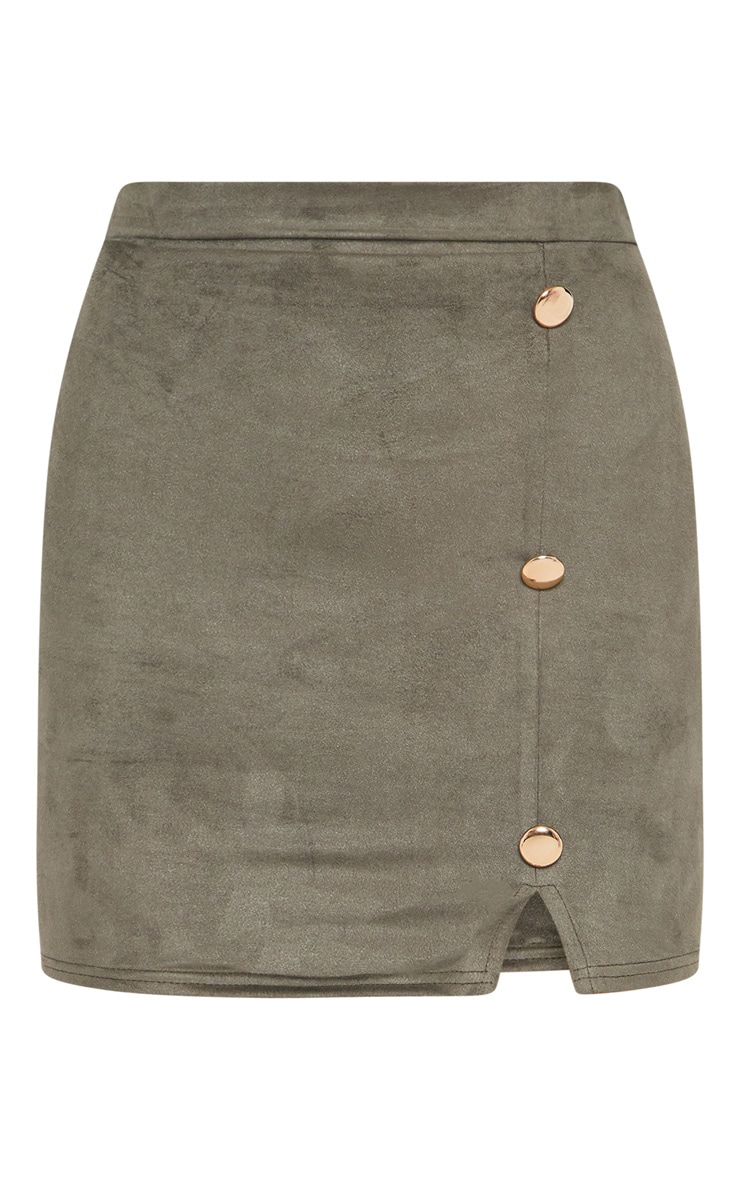 Khaki Faux Suede Button Detail Mini Skirt 3