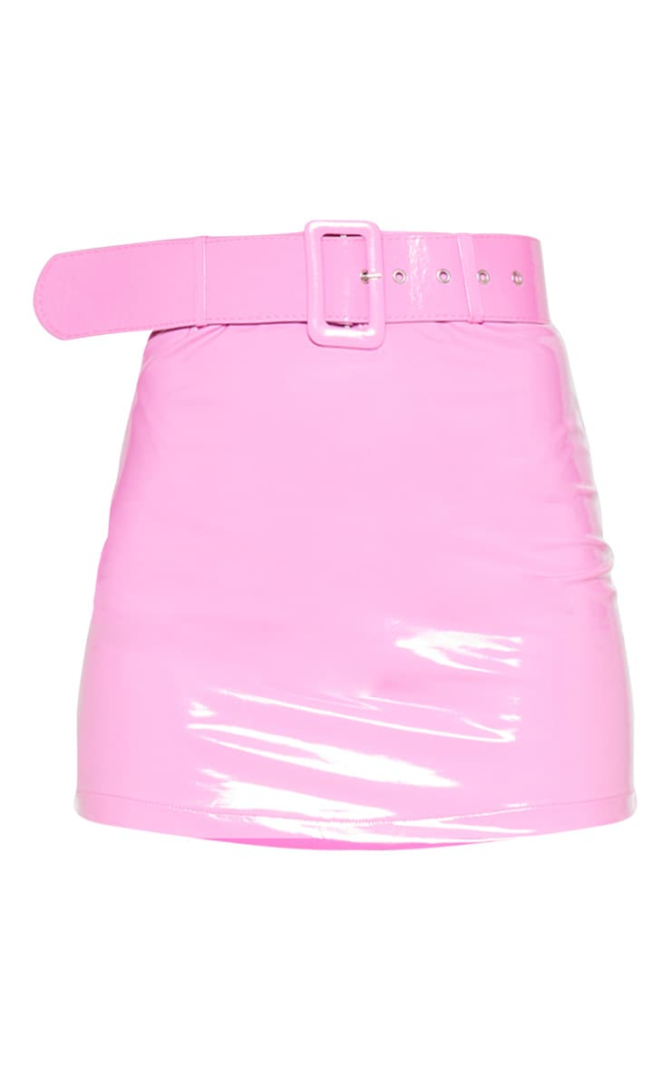 Hot Pink Vinyl Belt Detail Mini Skirt 3