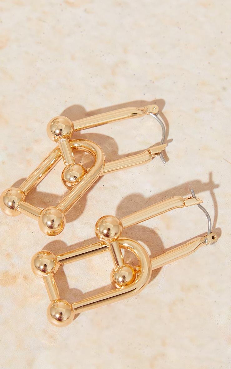 Gold Ball Link Earrings 3