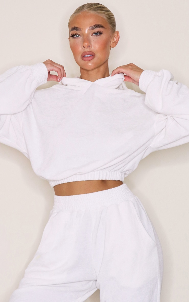 White Towelling Cropped Hoodie 1