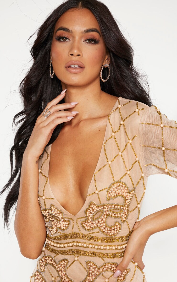 Nude Embellished Beaded Plunge Bodycon Dress 5