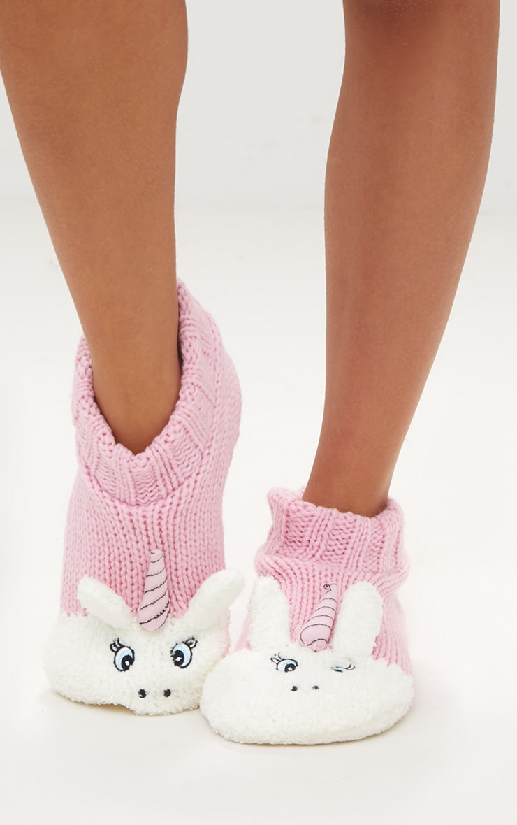 Pink Unicorn Slipper Socks 2