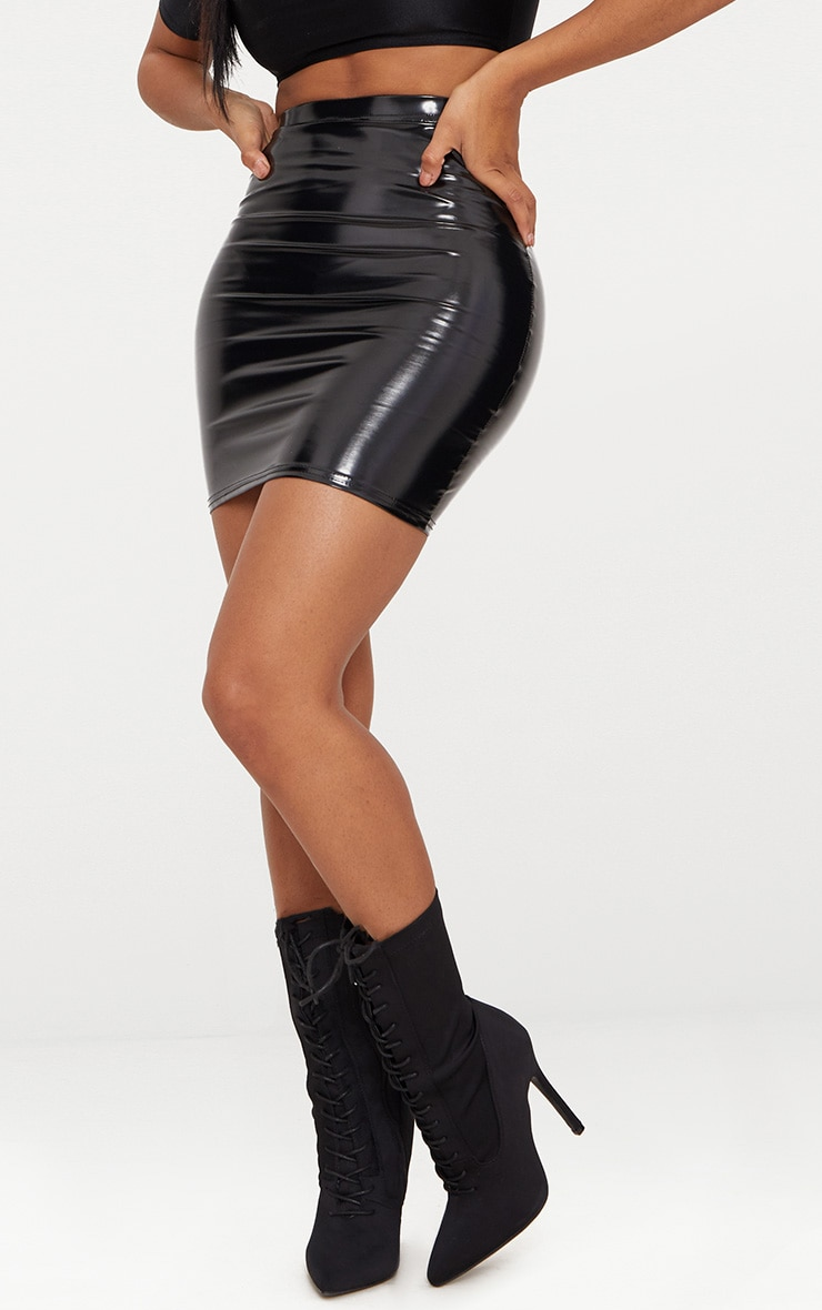 Shape Black Vinyl Bodycon Skirt 6