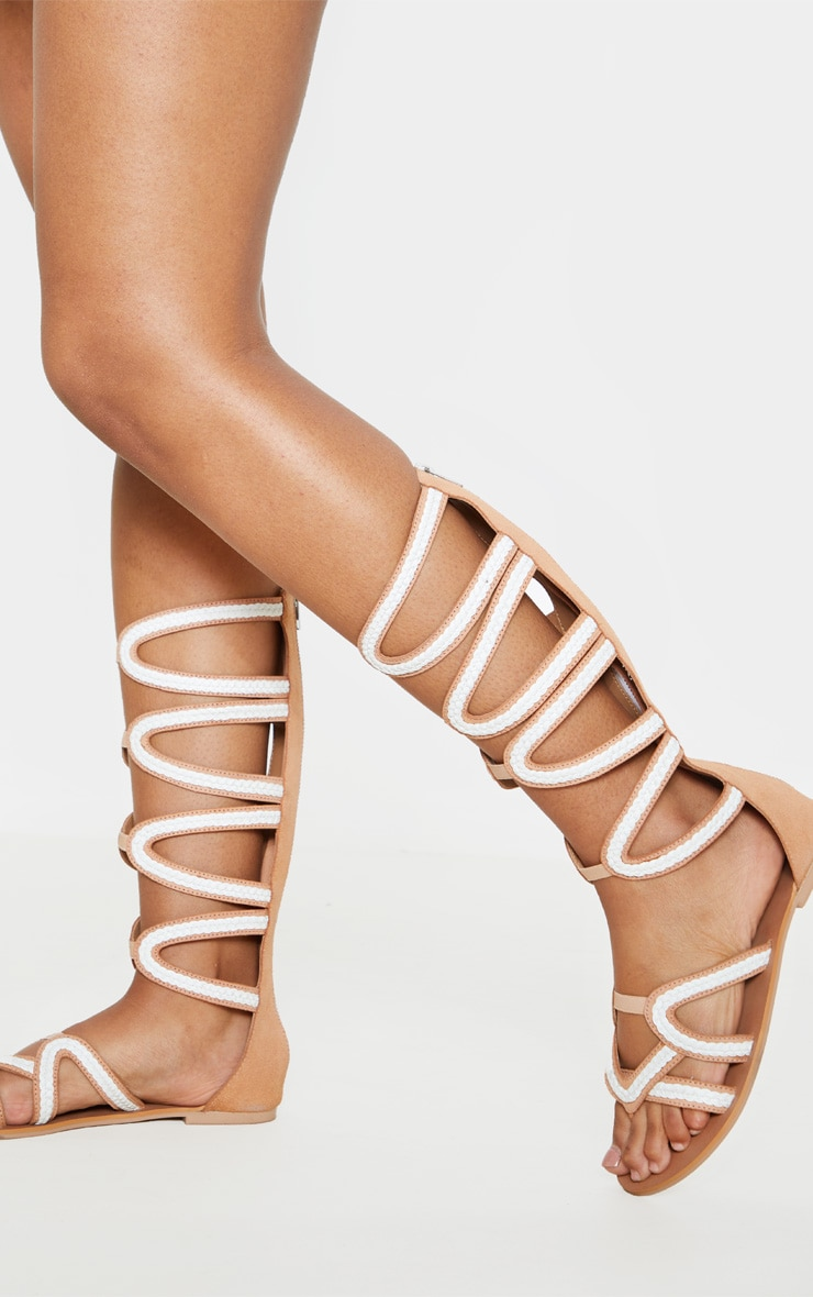 Tan Knee High Gladiator Sandal 1