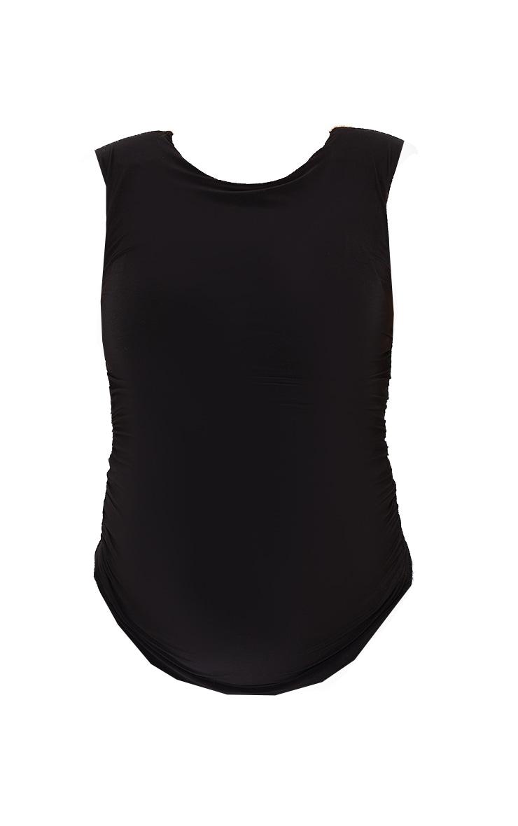 Maternity Black Slinky Shoulder Pad T-Shirt 5