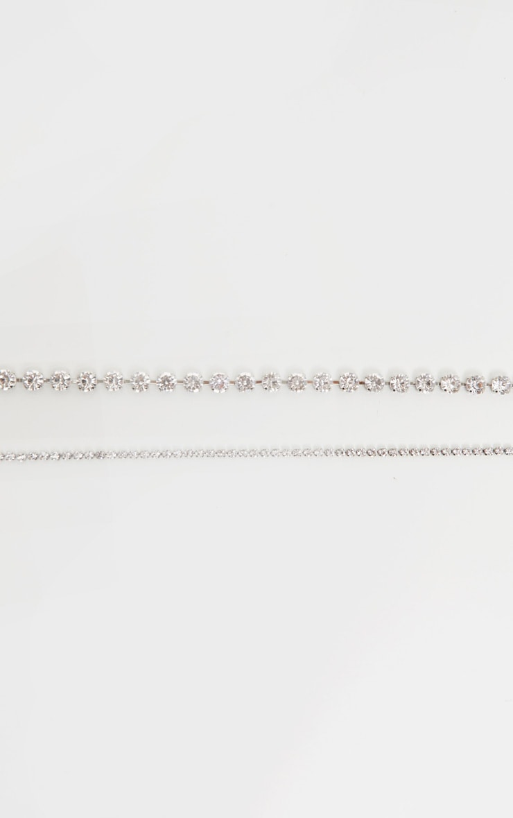 Lot de 2 chokers argentés à strass  3
