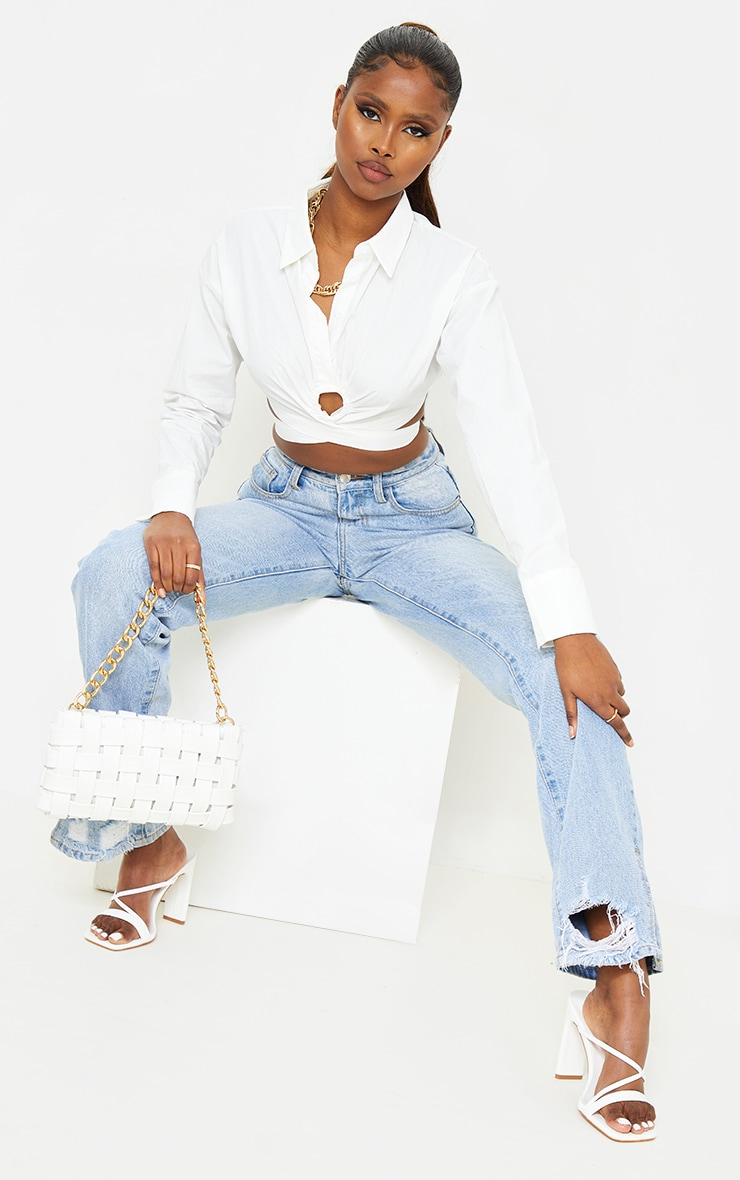 White Woven O Ring Cropped Shirt 3