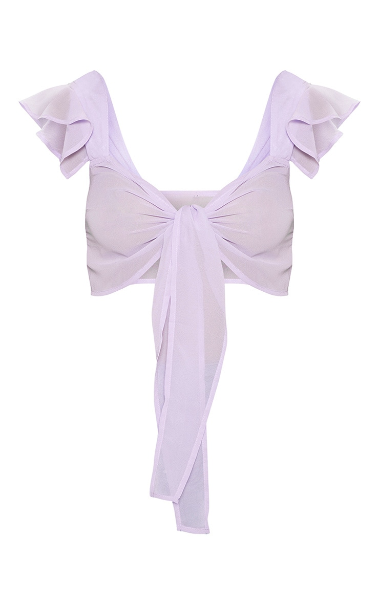 Lilac Chiffon Frill Tie Front Bralet 3