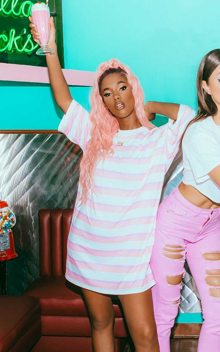 Baby Pink Stripe Oversized Boyfriend T Shirt Dress 1