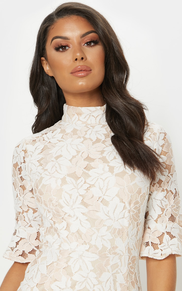 Nude Lace Frill Sleeve High Neck Bodycon Dress 5