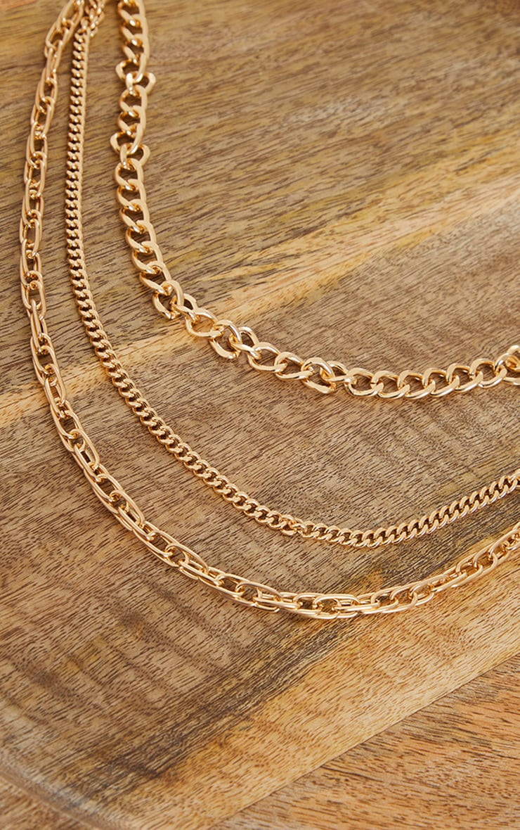 Gold Three Assorted Chain Layering Necklace 3