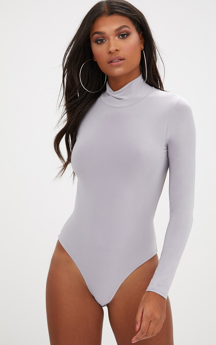 Ice Grey Slinky Backless Longsleeve Thong Bodysuit 2