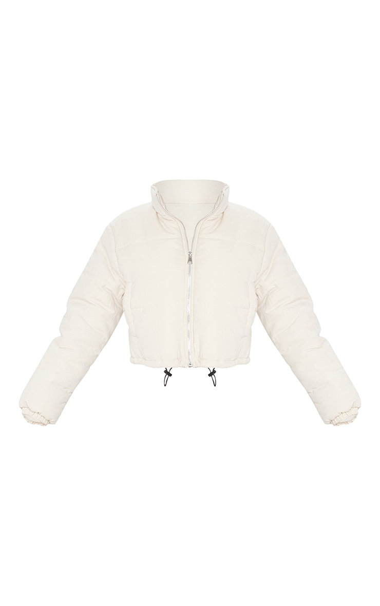 Beige Peach Skin Cropped Puffer Jacket 5