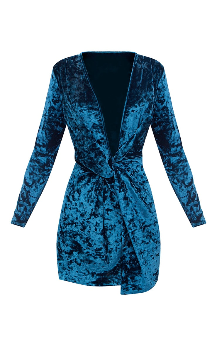 Teal Velvet Knot Front Long Sleeve Bodycon Dress 3