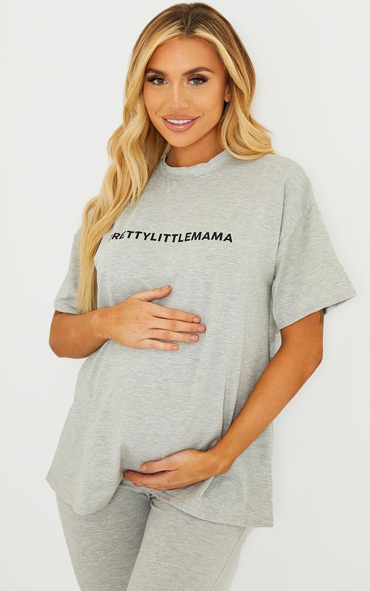 PRETTYLITTLEMAMA Maternity Grey Oversized T Shirt 1