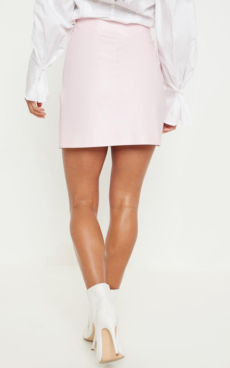 Petite Baby Pink  PU Side Split Mini Skirt 4