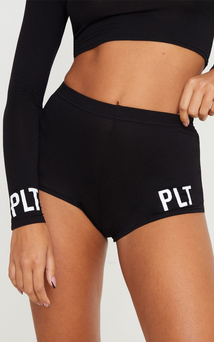 PRETTYLITTLETHING Black Cuff Detail Short PJ Set 4