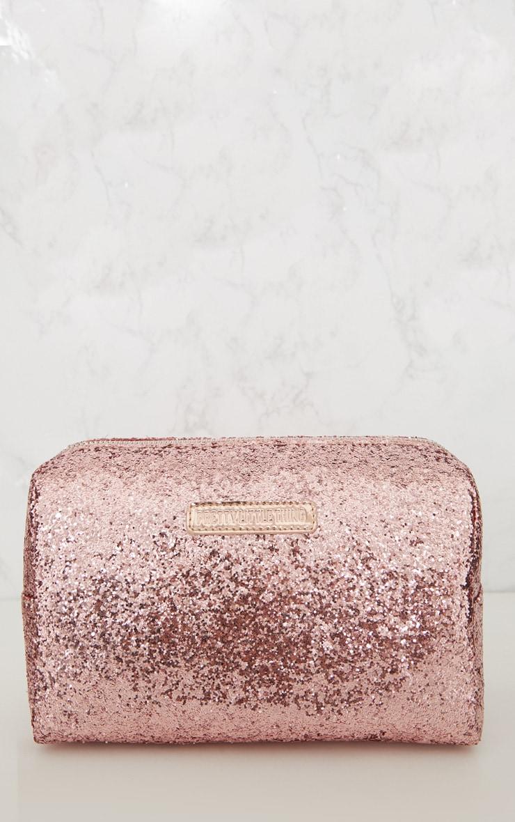PRETTYLITTLETHING Rose Gold Glitter Make Up Bag 3